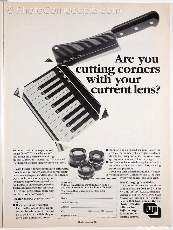 """刊登在1987年9月10日的《暗房和创意相机技术》杂志上的广告[1]    上面的广告声称:""""由于我们的间隔元件设计增加了空气到玻璃表面的数量,因此与胶结元件设计相比,可以增加转角清晰度和图像质量""""。"""