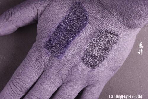 可见光(顶部)和紫外线(底部)中的两种不同类型的防晒霜。