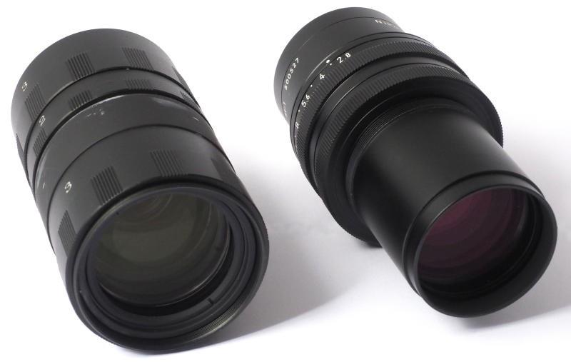 比较扫描仪Nikkor 100毫米(左)和打印Nikkor 105毫米f / 2.8 A(右)。 上:桶的前端。底部:后端。