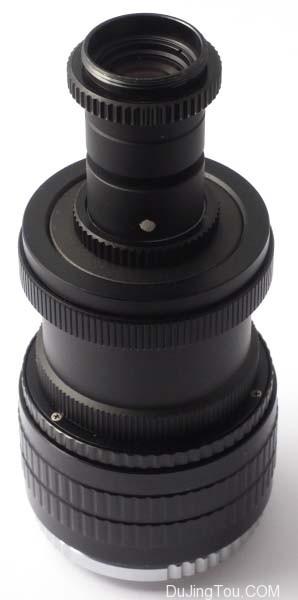 尼克尔40毫米扫描仪,可变光圈。 从上到下:扫描仪Nikkor 40毫米, 可变孔径, 延长环, 螺旋形, 短M42至Micro 4/3适配器。