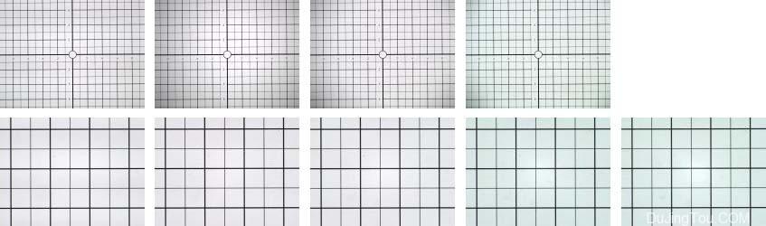 尼克尔40毫米扫描仪,可变光圈。 第一行:缩小的帧数,为1.3倍。从左起:f / 2,f / 2.8,f / 4,f / 5.6。 下排:缩小的帧,为3.5倍。从左起:f / 2,f / 2.8,f / 4,f / 5.6,f / 8。