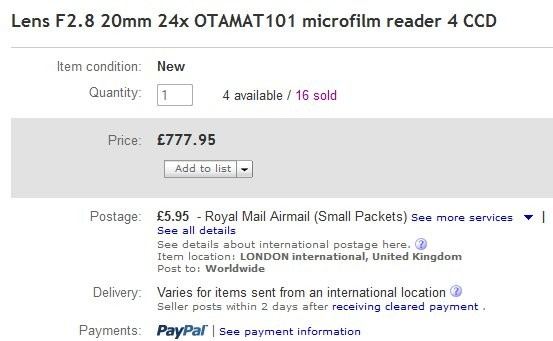 显微摄影镜头Otamat 20 mm f / 2.8